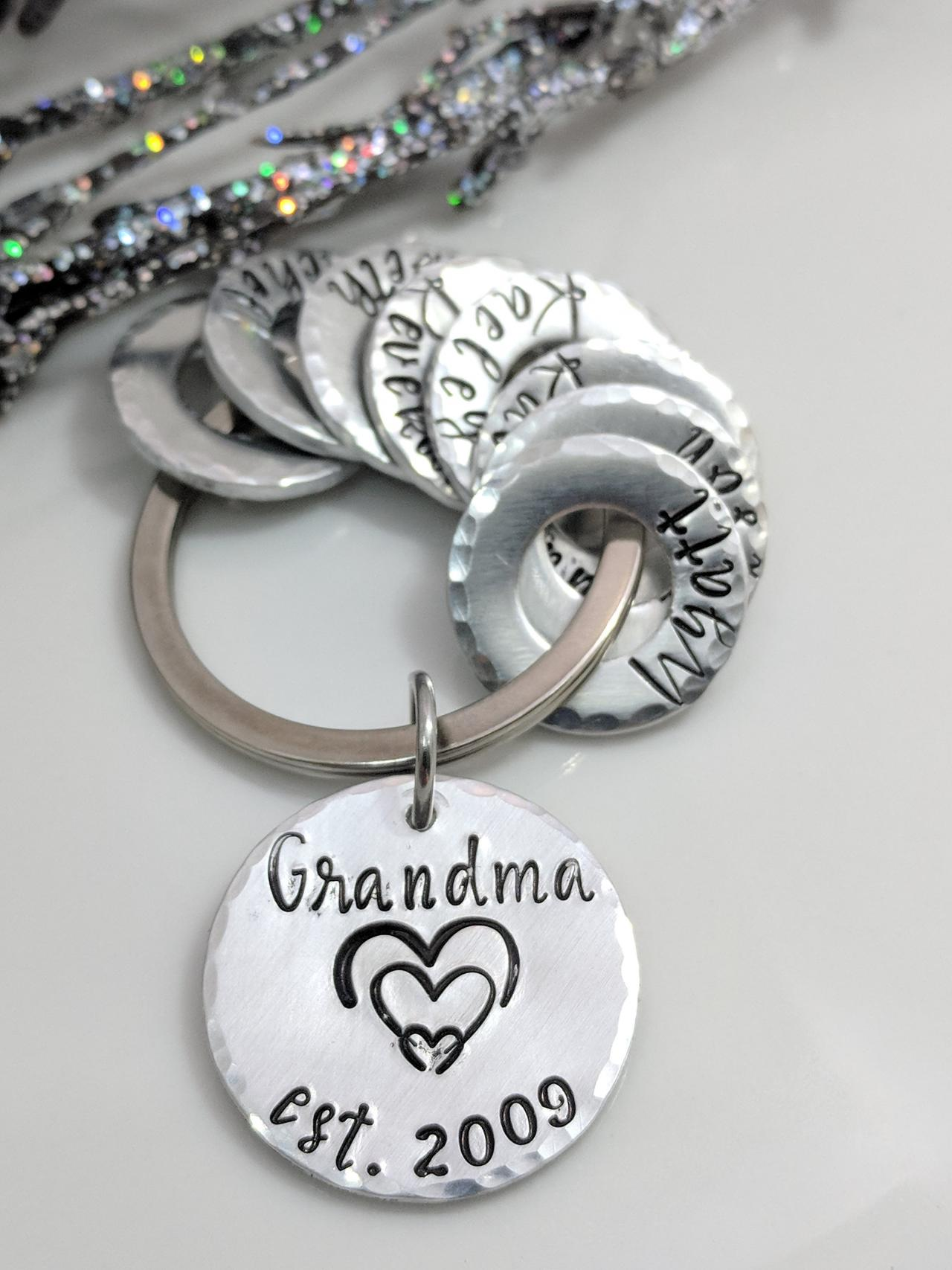 Grandma Gift- Hand Stamped Metal-Personalized Keychain-Names-Grandkids-Mom Gift-Grandpa Gift-Mother's Day-Family Names-Customized Keychain