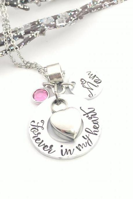 Forever In My Heart- Loss Jewelry- Remembrance Keepsake- Personalized- Birthstone- Heart Urn- Urn Necklace- Ashes- Cremation Jewelry- Gift