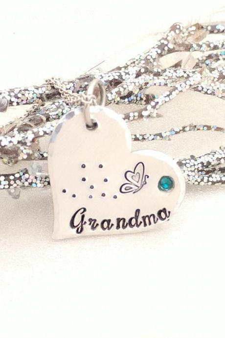 Grandma Necklace - Heart Necklace - Gift for Grandma - Butterfly Necklace - Name Necklace - Birthstone Jewelry - Metal Stamped - Handmade