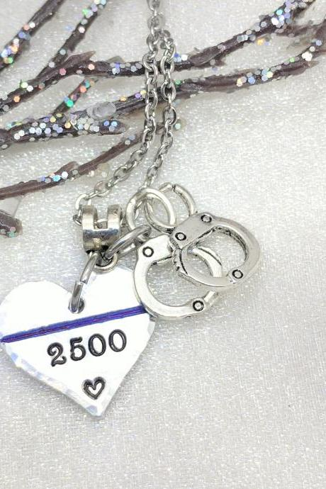 Thin Blue Line Necklace Valentine's Gift for Her-Police Girlfriend-Badge Number-Police Wife Necklace-Police Wife-Police Officer Jewelry