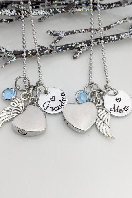In Memory Of - Memorial Keepsake - Keepsake Jewelry - Wing Charm - Ash Jewelry - Urn Necklace - Urn for Ashes - Personalized - Hand Stamped