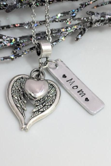 Angel Wing Necklace - Heart Urn Pendant - Personalized Ash Jewelry - Ashes Locket - Cremation Urn Necklace - Sympathy Gift - Urn for Ashes