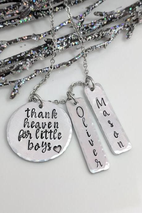 Thank Heaven for Little Boys - Mom Necklace - Kids Name Necklace - Gift for Mom - Gift for Grandma - Customized Name Necklace - Personalized