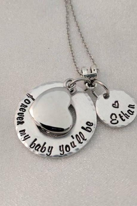 Forever My Baby You'll Be - Urn Necklace - Ashes Jewelry - Quote Jewelry - Personalized - Loss of Child - Loss Necklace - In Memory Of