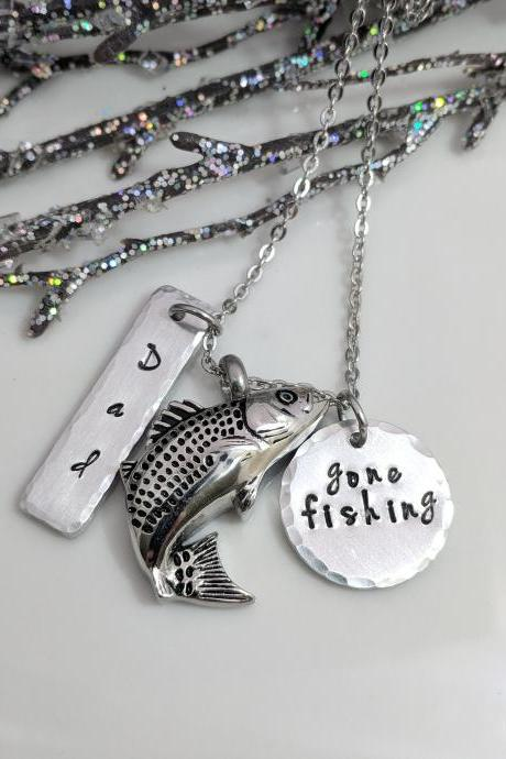 Gone Fishing Urn Necklace, Ashes Necklace, Memorial Gift, Fishing In Heaven, Sympathy Gift, Personalized Memorial Urns, Loss of Dad,Urn Gift