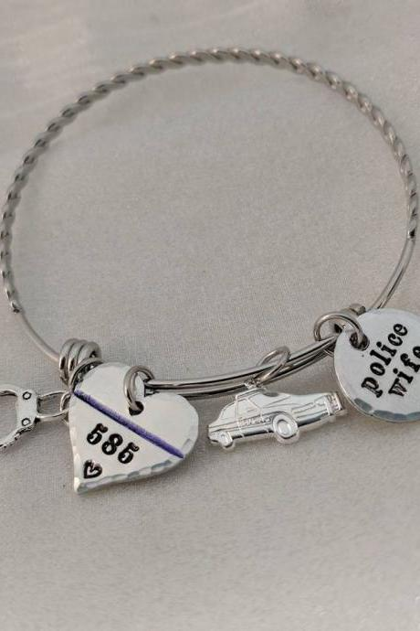 Police Wife Bracelet - Personalized Bangle - Thin Blue Line Bangle - Badge Number Bracelet - Gift for Police - LEO Wife Gift -Police Jewelry