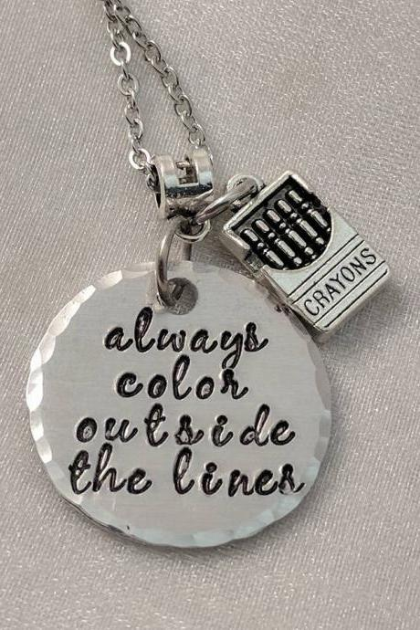 Always Color Outside The Lines Inspirational Jewelry-Message Necklace-Quote Jewelry-Handmade Jewelry-Saying Necklace-Crayons-Word Jewelry