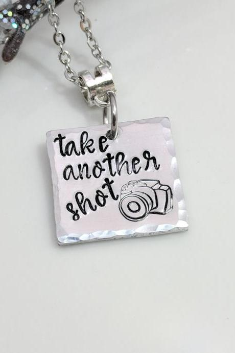 Photographer Gift-Camera Necklace-Photography Jewelry-Take Another Shot-Hand Stamped Jewelry-Metal Stamped Jewelry-Exquisite Stamp Design