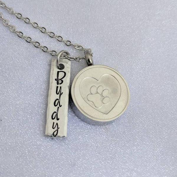 Urn Necklace - Loss of Pet - Pet Cremation Urn - Cremation Pendant - Pet Ashes Locket - Customized Name Urn Necklace - Keepsake Urn - Grief