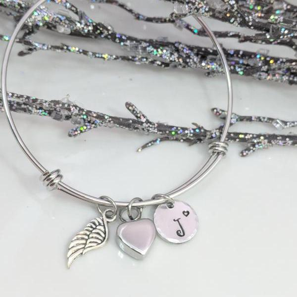 Urn Bracelet, Personalized Urn Jewelry, Sympathy Gift, Loss of Family, Heart Urn, Angel Wing Bracelet, Memorial Bracelet, Urn for Ashes