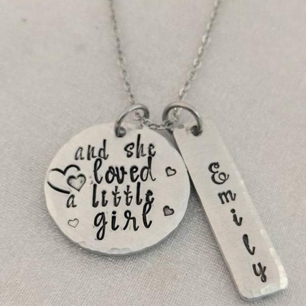 And She Loved a Little Girl-Personalized Mommy Jewelry-Name Jewelry-Grandma Jewelry-Personalized Necklace-Jewelry for Mom-Mom from Daughter