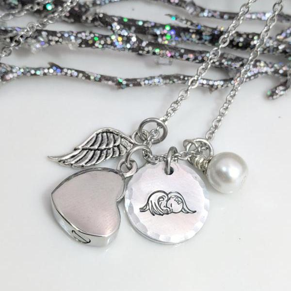 Infant Loss Memorial - Pregnancy Loss - Angel Necklace - Cremation Urn Necklace - Ashes Jewelry - Angel Baby - Customized - Loss of Baby